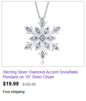 "Sterling Silver Diamond Accent Snowflake Pendant on 18"" Silver Chain"