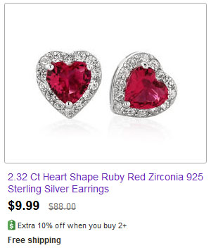 2.32 Ct Heart Shape Ruby Red Zirconia 925 Sterling Silver Earrings
